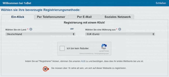 1xBet Registrieren