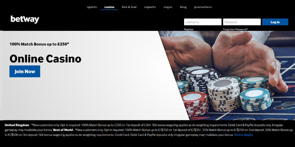 Betway online casino login